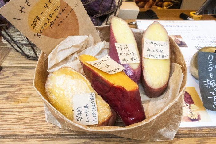 ▲「蜜香屋BATATAS」では、金時やシルクスイートなど、その時のおすすめの焼き芋を数種販売。